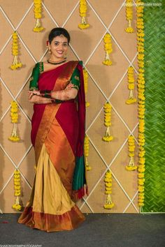 Ideas for floral bridal shower dress style Half Saree Function, Wedding Stage Decorations, Marriage Decoration, Diwali Decorations, Flower Decorations, Unique Bridal Shower, Indian Bridal Fashion, Shower Dresses, South Indian Bride
