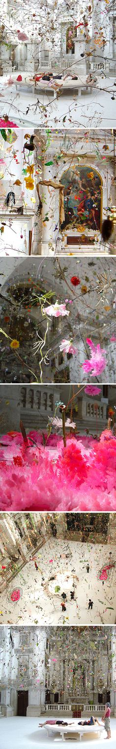 This breathtaking installation was created for the 50th Biennial of Venice in 2003, and found it's home in San Staë church on the Canale Grande. It's entitled Falling Garden, and is the work of collaborating Swiss artists, Gerda Steiner and Jörg Lenzlinger.