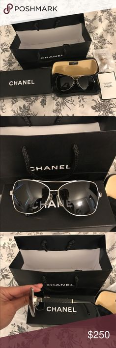 authentic Chanel sunglasses Great condition. Style: 4196-Q. NO LONGER SOLD IN CHANEL STORES. Black gradient lens. Comes with all orginal items (cleaner, box, bag, additional carrier, and case). ONLY wear and tear is on the sunglass case! Worn only a few times. Letting them go because my sunglasses collection is quite big and I never wear these anymore. I also showed the internet picture to show the gradients. PRICE IS NOT FIRM, feel free to make me an offer :)  P.s. I can deliver if you are…