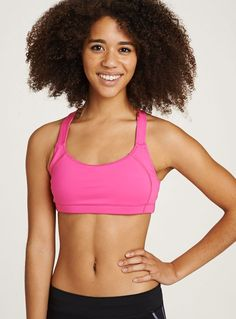 883d90e7ea00c new lesko bra with removable cups - neon pink  oiselle Race Day
