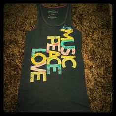Stretch Aeropostale Tank Top Original Brand Aero MUSIC PEACE LOVE Tank Top Made out of 96% Cotten & 4% Spandex Size Large Aeropostale Tops Tank Tops