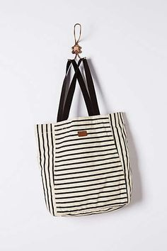 Stripe Play Tote from Anthropologie - inspiration for bags to sew Tote Backpack, Tote Purse, Tote Handbags, Tote Bags, Striped Bags, Fabric Bags, Casual Bags, Fashion Bags, Style Fashion
