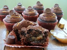 If you love Rolo candy, you'll love these Rolo Cupcakes! Chocolate cupcakes filled with caramel, topped with chocolate frosting, more caramel and a Rolo!