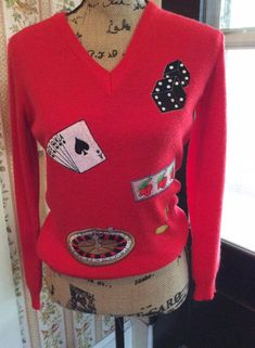 Vintage 1970s Sweater Las Vegas Tahoe Atlantic City Reno Cyn Les Shirlee Design Label by TimelessTreasuresVCB on Etsy