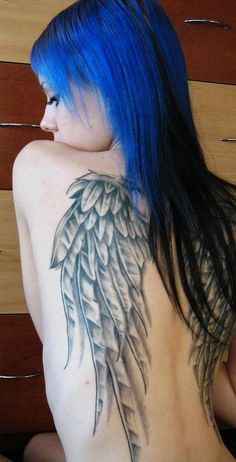 """Angel wings. But with quote inbetween them. """" All Angels can't fly""""?"""