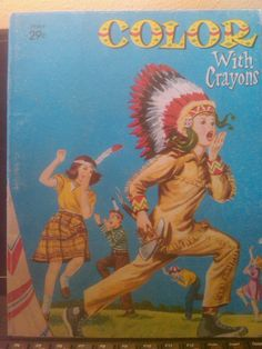Vintage Coloring Book  native American Indian 1964  by wildharebooks on Etsy, $3.00