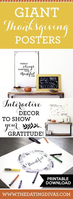 Five Gratitude Thanksgiving Signs Interactive gratitude Thanksgiving signs. Love that these posters double as a decoration AND an activity for the guests! Free Thanksgiving Printables, Thanksgiving Cakes, Thanksgiving Signs, Thanksgiving Blessings, Hosting Thanksgiving, Thanksgiving Centerpieces, Thanksgiving Activities, Free Printables, Dating Divas