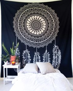 Dreamcatcher Tapestry – The Bohemian Shop Tapestry Fabric, Tapestry Wall Hanging, Antique Vanity Table, Rustic Chic Decor, Painted Cupboards, Rustic Wood Furniture, Curtain Patterns, Bohemian Interior, Shabby Chic Style