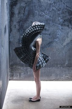'Object is a series of experimental fashion designs by Croatian designer Matija Čop. each garment is put together with interlocking laser-cut foam pieces & no glue or stitching. via trendhunter 3d Fashion, Ideias Fashion, Fashion Design, Paper Fashion, Style Fashion, Vetements Clothing, Structured Fashion, Conceptual Fashion, Geometric Dress