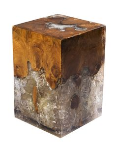 Salvaged teak and cracked resin block stool