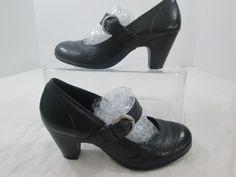 Nurture Black Leather Mary Jane Buckle Strap Block Heel Shoes Size 6 M #Nurture #MaryJanes #Casual