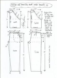 Esquema de modelagem de macacão com cava americana tamanho 38.