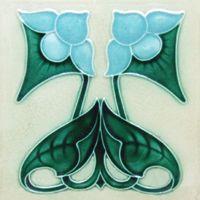 Art Nouveau-style flower tile, light blue flower, deep green stem, white background.
