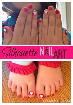 silhouett cameoportrait, silhouett heart, nail art tutorials, heart nails, silhouett school, silhouett machin, nail arts, silhouettes