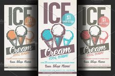 Ice Cream Shop Promotion Flyer by Hotpin on @creativemarket