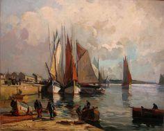 """Lucien Victor Delpy 1898-1967 """" Thoniers sous voiles au port de Concarneau """" 1945"""