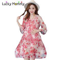 1d29de6cc Half Sleeve Chiffon Floral Maternity Boho Dress Summer 2017 Maternity  Clothes Bohemian Pregnancy Boho Dress for