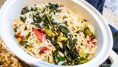 Rice with Tomato, Collard Greens and Garlic Vegan Gluten Free, Gluten Free Recipes, Vegetarian Recipes, Tomato Rice, Green Tomatoes, Collard Greens, Rice Dishes, Kale, Glutenfree