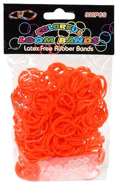 Colorful Loom Bands 300 ORANGE Rubber Bands with 'S' Clips