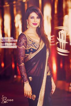Beautiful navy blue saree with lace arms
