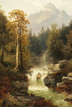 Josef Thoma. Waterfall near Toblach, 19th Century.
