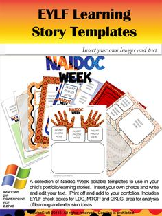 A collection of NAIDOC Week editable templates to use in your child's portfolio/learning stories. Insert your own photos and write and edit your text. Print off and add to your portfolios! 30 pages for $4! http://designedbyteachers.com.au/marketplace/naidoc-week-editable-eylf-template/
