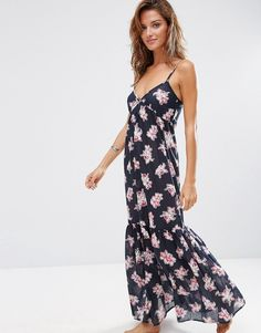 ASOS+Orchid+Tropical+Tiered+Maxi+Beach+Dress