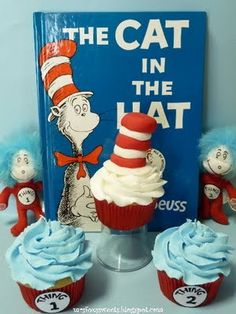 Dr. Seuss - The Cat In The Hat, Thing 1 & Thing 2 #cupcaketuesday  (my oldest share a bday with dr. seuss, i may have to make these!!!)