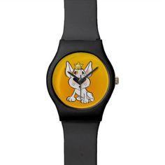 Cute Bull Terrier puppy cartoon watch in black - dog puppy dogs doggy pup hound love pet best friend