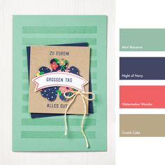 Mint Macaron, Night of Navy, Watermelon Wonder & Crumb Cake #StampinUpColorCombos