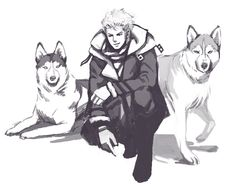 The Strawhats with their dogs: Zoro & two huskies (by hazelisque on tumblr)