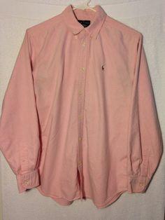 BOYS POLO RALPH LAUREN Button Down Shirt Size 20 Long Sleeve 100% Cotton PINK #RalphLauren #DressyEveryday