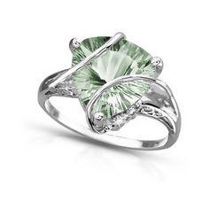 4 Carat Trillion-Cut Green Amethyst And Diamond 14K White Gold Ring.