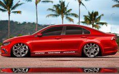 Download wallpapers Volkswagen Passat, tuning, low rider, stance, red passat, german cars, Volkswagen