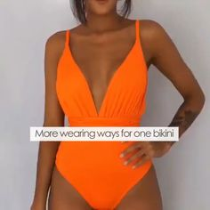 One-Piece Multicolor Swimsuit The unique design of this swimsuit makes it possible to wear it in at least 6 different ways. Summer Outfits, Cute Outfits, One Piece Dress, 2 In 1 Dress, One Piece Ship, The Bikini, Bikini Tops, Swimwear Fashion, Women Swimsuits