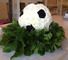 Soccer Ball floral arrangement by Blossoms of Burlington, On.