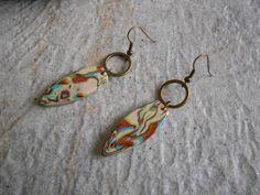 boucles d'oreilles ethniques pâte fimo polymère et bronze : Boucles d'oreille par elisabijoux