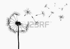 dandelions flying in the wind Stock Vector
