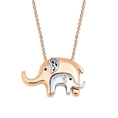 Two Elephants Mother and Child Elephant Solid Gold Necklace Rose Gold White Gold from FiEMMA. Elephant Jewelry, Elephant Necklace, Animal Jewelry, Yellow Gold Rings, White Gold, Rose Gold, Ankle Chain, Mother And Child, Solid Gold