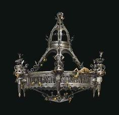 'COLIMAÇONS ET BÊTE FANTASTIQUE': AN IMPORTANT FRENCH GOTHIC-REVIVAL ORMOLU-MOUNTED FORGED AND WROUGHT-IRON THIRTY-NINE-LIGHT CHANDELIER