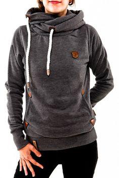 Stylish Hooded Long Sleeve Draped Spliced Hoodie For Women