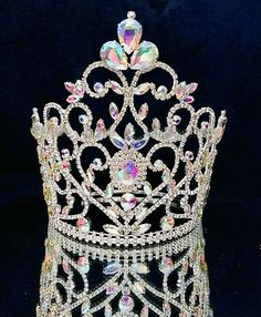 Rhinestone Large Pageant Crystal Crown Tiara Drag Queen 8 inch USA SELLER