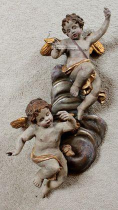 "Paar Barock – Engel ""puttos"" Auf Wolke, 18. Jh. Vor 1900 Bild Painting Inspiration, Art Inspo, Sculpture Art, Sculptures, Baroque Decor, Sword Drawing, French Images, Renaissance, Cemetery Angels"