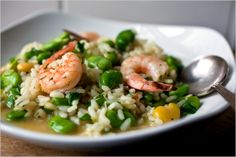 Fresh Fava Bean and Shrimp Risotto: View this and hundreds of other vegetarian recipes in the New York Times Eat Well Recipe Finder. Shrimp Risotto, Vegetarian Recipes, Healthy Recipes, Fava Beans, Eat To Live, I Love Food, Food For Thought, Main Dishes, Rice Dishes