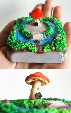 My first miniature fairy house made of polymer clay on concrete base.  #upcycled #diy #miniature #fairyhouse #fairygarden #mushroomhouse #sculpture #clay #polymerclay #creative #art #singaporedesigner #craft