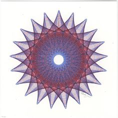Abstract Art, Original Ink Drawing, 21 Point Star Burst Circle Shape Blue and Red Intricate Ink Line Drawing 8 x 8 Square