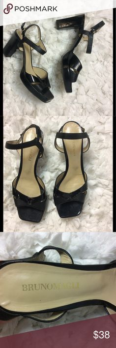 Bruno magli patent leather chunky heeled sandals 8 Bruno Magli vintage black patent leather square toed chunky heel platform sandal Size 38/8 Length from heel to toe 10 inches With 3 1/4 inches Height of heel 3 1/2 inches Height of platform in front 3/4 of an inch This is a preowned item in very good condition Bruno Magli Shoes Heels