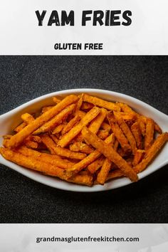Crispy restaurant style yam fries made gluten free at home. Seasoned to perfection, these yam fries will leave you wanting more. #glutenfreeyamfries #easyglutenfree #yamfriesglutenfree #glutenfreeside Gluten Free Kitchen, Gluten Free Living, Gluten Free Cooking, Gluten Free Recipes, Gluten Free Sides Dishes, Fries In The Oven, Yams, Easy Meals