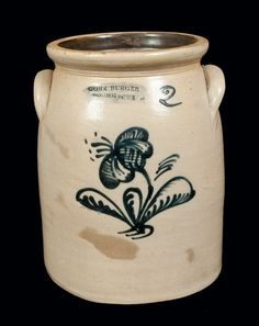 2 Gal. JOHN BURGER / ROCHESTER Stoneware Crock. We had several of these. Mom and Grandmother used them to make pickles.