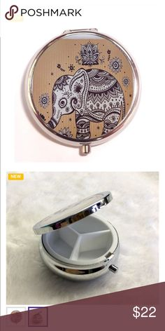 🐘Stylish Elephant Pill Box..🐘 Stylish Elephant Pill Box w/ 3 compartments .. Stainless Steel.. won't fade! Great gift for yourself or for family / friends ...( Elephants always a good luck piece) love,love ,love Accessories